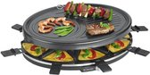 Bomann RG2247CB Raclette Grill + 8 Pannen en 8 Spatels Zwart