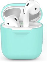 Airpods Silicone Case Cover Hoesje voor Apple Airpods - Cyaan Turquoise Licht Blauw