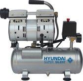 Hyundai stille compressor 6 liter - olievrij - 8 BAR - 59 dB 'Super Silent'.