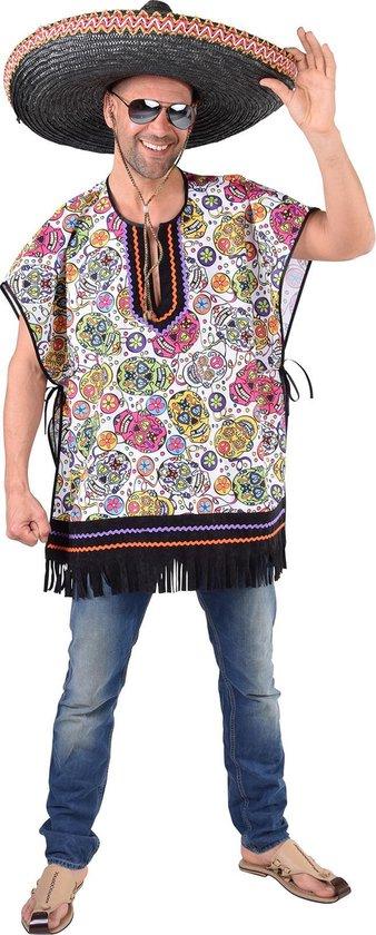 Ponche met doodshoofden - Mexicaanse stijl - Carnaval kleding - One size