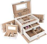 LifeGoods XL Sieraden Doos Met Spiegel - Luxe Bijouterie Kistje - Juwelen Box Met Houder - 20 Vakken - Ketting/Ring/Oorbellen/ Horloge - Dames/Meisjes - Wit