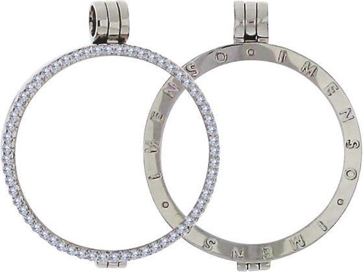 MY iMenso - Medallion met CZ-steen - 24mm - 925/rhod-plated - iMenso