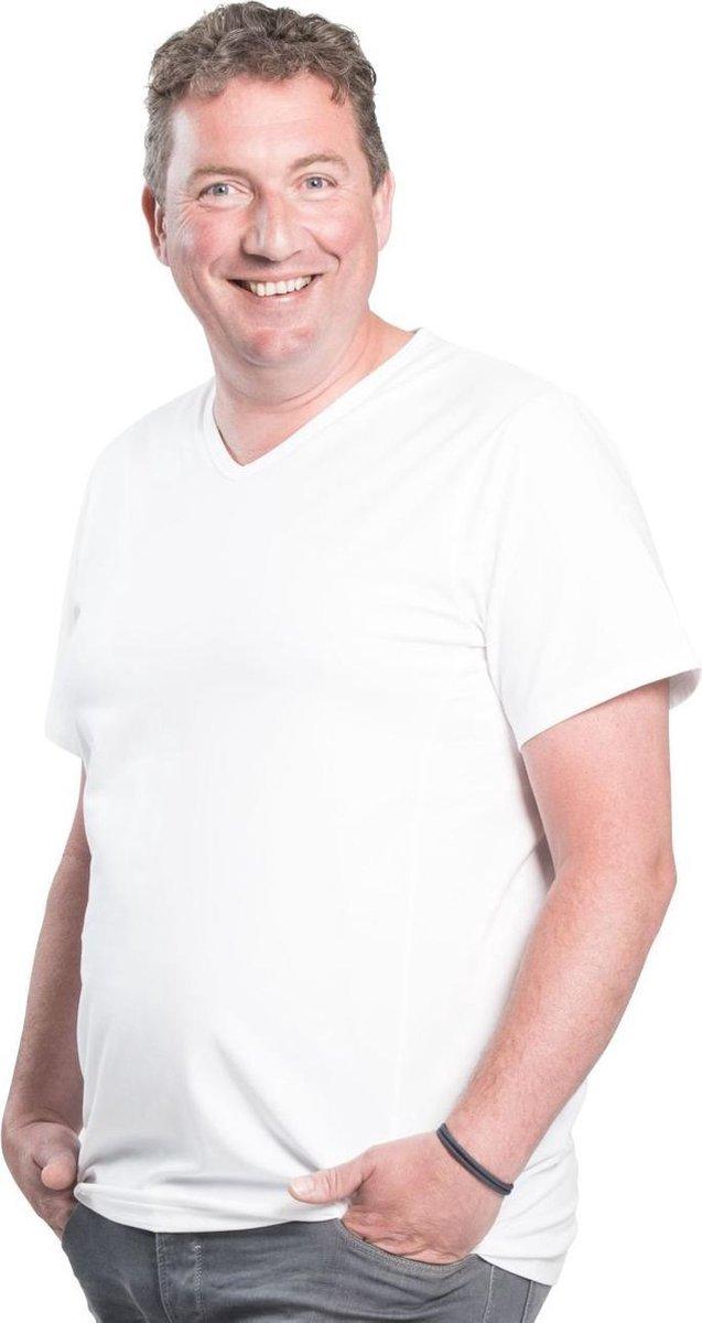 4XL 2pack T-shirt heren V-hals wit   Grote maten V-hals T-shirt   Buikmaat 138 -145 cm buikomvang