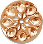 LOCKits 982501867 - stalen munt - bloem - perzikkleur kristallen - Ø 33-2 mm - rosékleurig