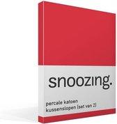 Snoozing - Kussenslopen - Set van 2 - Percale katoen - 60x70 cm - Rood