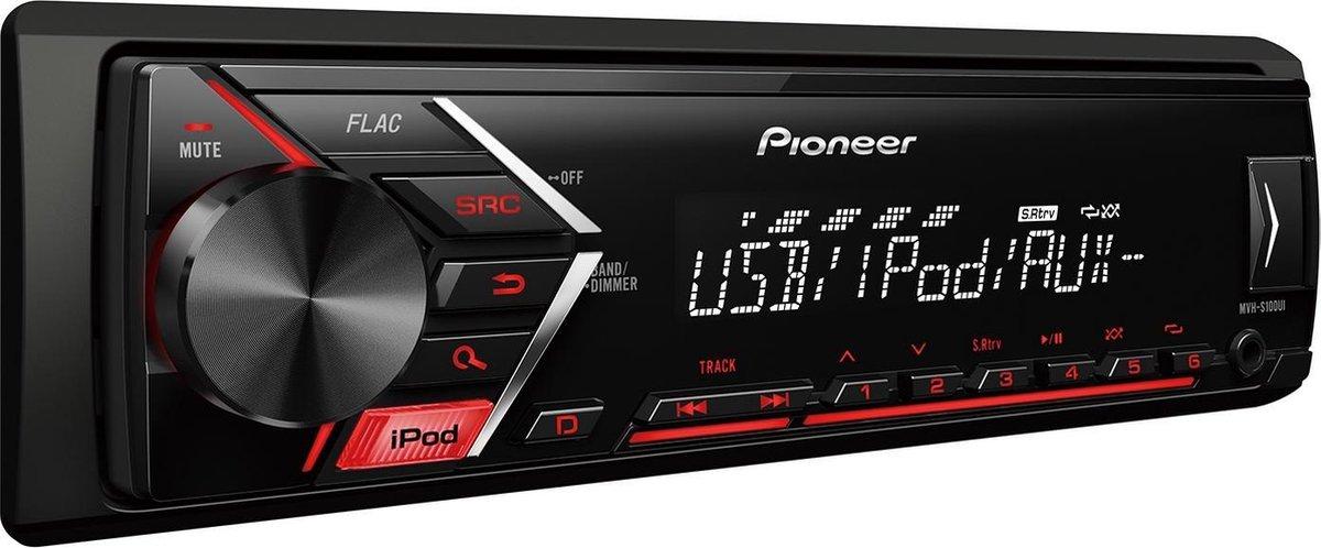 Pioneer MVH-S100UI Autoradio - Enkel DIN Autoradio - USB - AUX - Rood