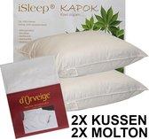 iSleep Kapok Hoofdkussen Set (2 Kussens + 2 Moltonslopen) - 60x70 cm