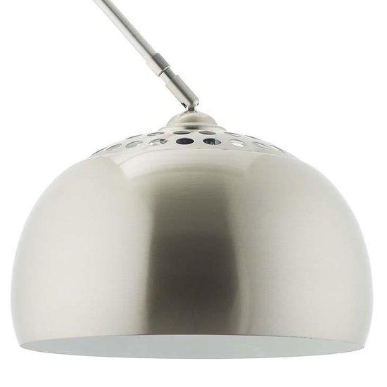 Staande booglamp vloerlamp in hoogte en diepte verstelbaar zilver chroom