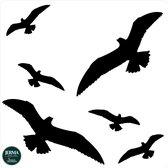 Vogel bescherming windscherm sticker set 6 vogels zwart