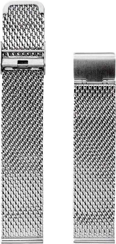 Silver Classic line 20mm - Horlogeband Zilver - Milanees Mesh Strap - Roestvrij Staal RVS + opening tool - Straeppa