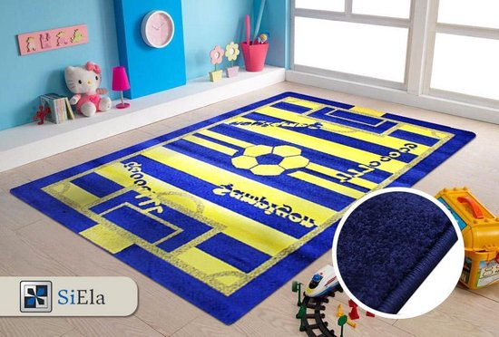Verwonderend bol.com   Vloerkleed Kinderkamer - Voetbal - Blauw en Geel KW-35