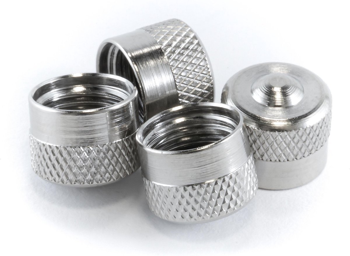4 PREMIUM RVS ventieldopjes voor de auto - ventieldop - Zilver
