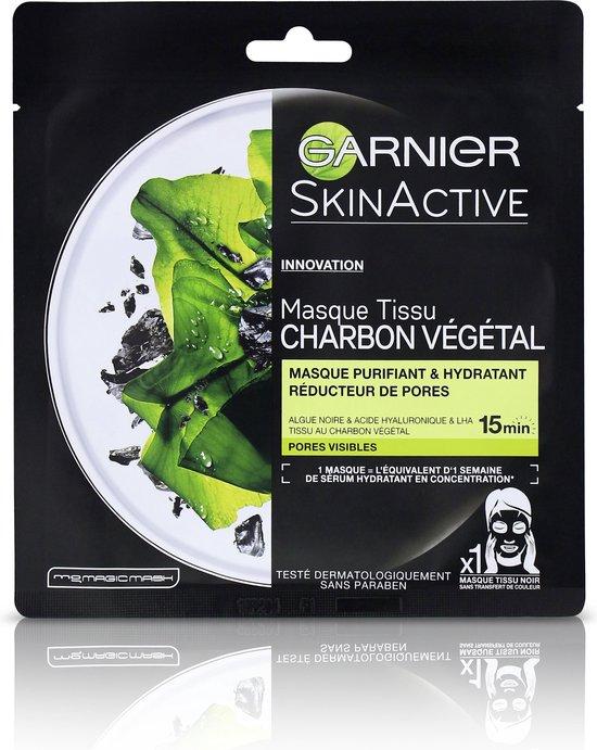 Garnier SkinActive Pure Charcoal Black Sheet Mask - Zuiverend en Verfijnend Gezichtsmasker