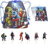 Superhelden Avengers Feestpakket | Uitdeelzakjes + Cupcake Toppers + Rugzakje | Nu Tijdelijk Gratis Avengers Minifiguurtjes!| Verjaardag| Avengers | Taartversiering | Kinderfeestje