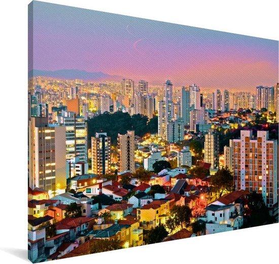 Een kleurrijke zonsondergang over de stad São Paulo in Brazilië Canvas 180x120 cm - Foto print op Canvas schilderij (Wanddecoratie woonkamer / slaapkamer) XXL / Groot formaat!