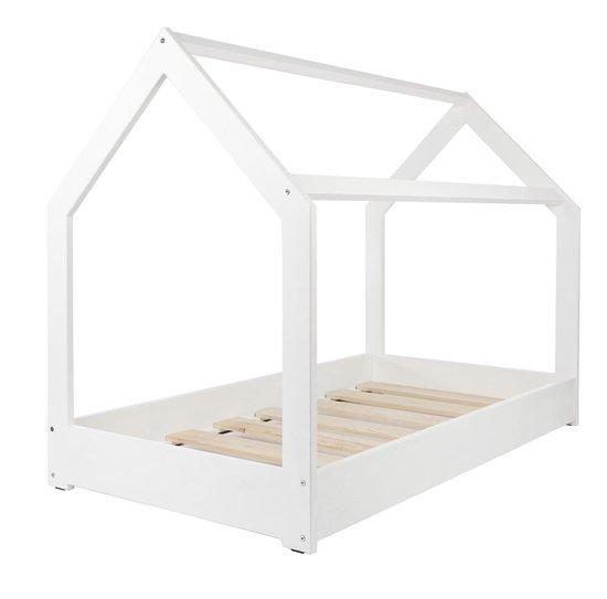 Houten bed - Huisbed - Huis bed - kinderbed - 160x80 - wit - Merkloos