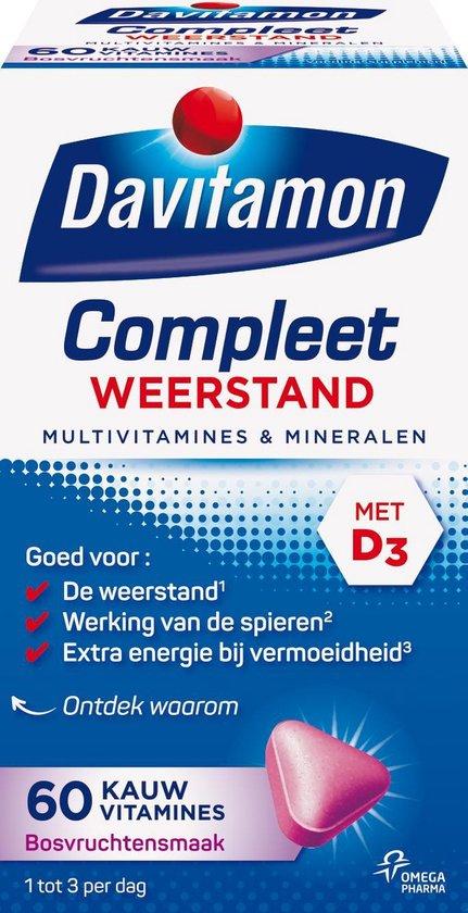 Davitamon Compleet Weerstand Kauwvitamines - Multivitamine - bosvruchten - 60 tabletten