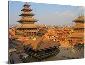 Tempels op het Durbarplein in Kathmandu Aluminium 80x60 cm - Foto print op Aluminium (metaal wanddecoratie)