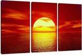 Art4-all - Canvas Schilderij Ondergaande Zon in Zee - 160x90cm