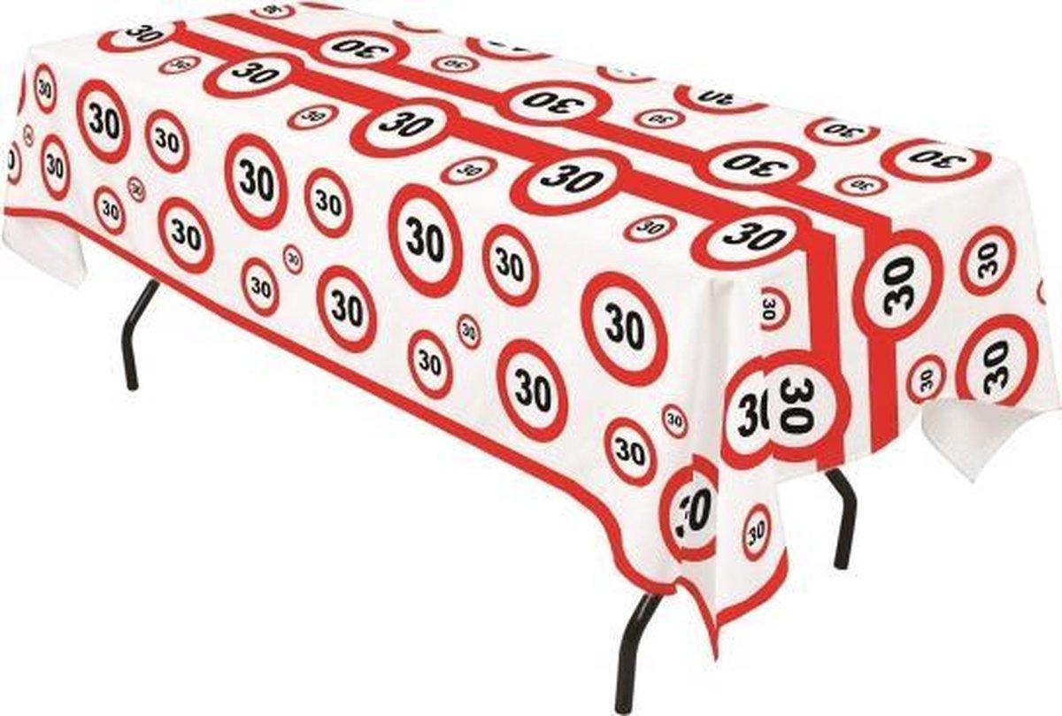 Plastic verkeersborden tafelkleed 30 jaar - Merkloos