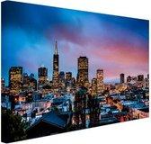 Skyline bij nacht Canvas 30x20 cm - klein - Foto print op Canvas schilderij (Wanddecoratie woonkamer / slaapkamer) / Steden Canvas Schilderijen