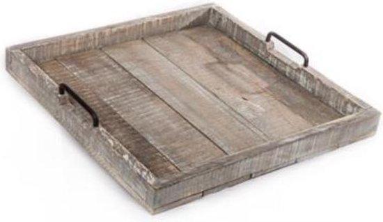 Hocker dienblad antique grijshout, metalen grepen 50x50x7cm