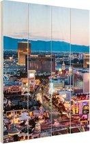 Las Vegas Strip Avond Hout 60x80 cm - Foto print op Hout (Wanddecoratie)
