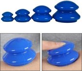 Vacuum Massage Cups 4-delige set - Anti Cellulitis - Cupping Therapy Set - Siliconen Cuppingset - Blauw