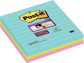 3M Post-it super sticky notes gelijnd Miami 101 x 101 mm (3 pack)
