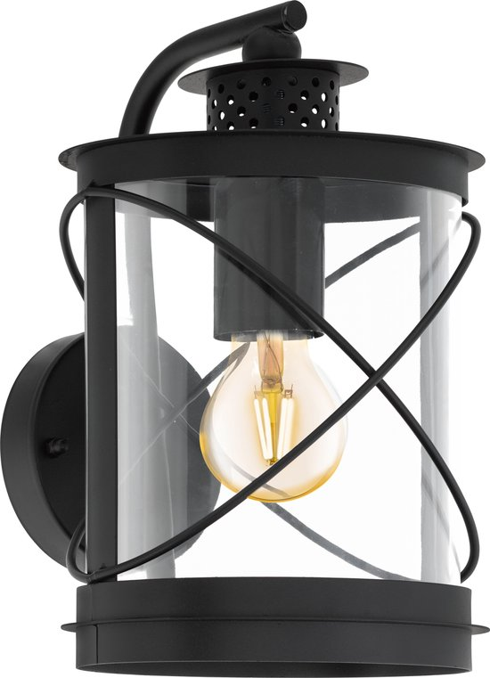EGLO Vintage Hilburn Wandlamp - Voor buiten- 1 Lichts - Zwart