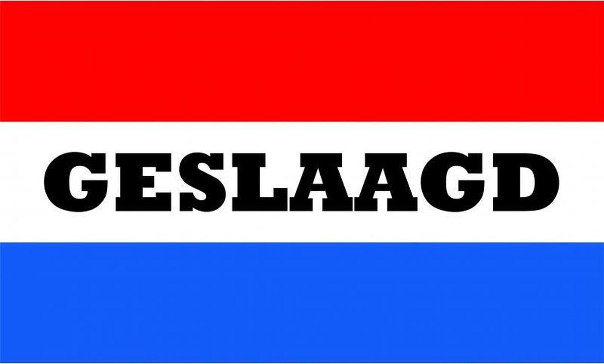 Geslaagd vlag met Nederlandse kleuren 150 x 90 cm