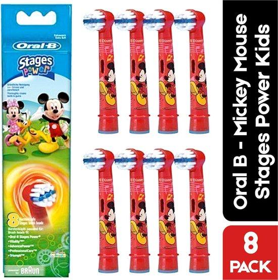 Oral B Stages Power Kids - Disney Mickey Mouse opzetborstels - 8 opzetborstels voor kinderen - voordeelverpakking