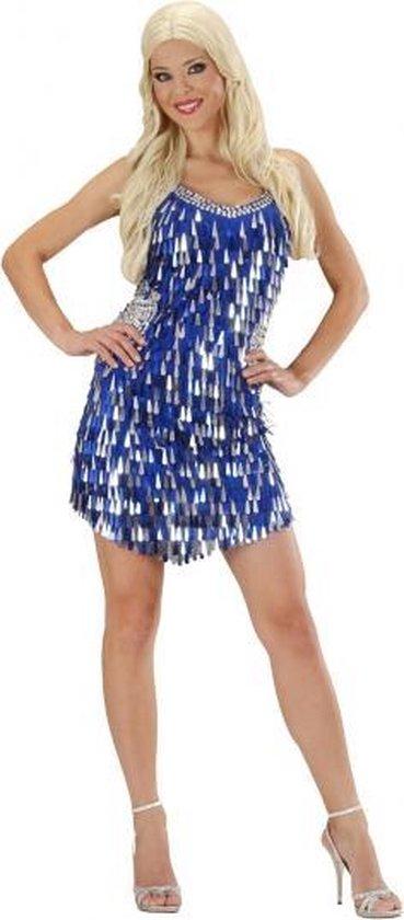 Pailletten jurkje blauw met zilver 38 (m)