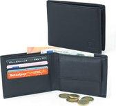 Zwarte Heren Portemonnee – Billfold - Leer -  RFID - 4 pasjes