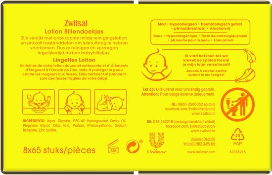 Zwitsal Lotion Billendoekjes - 520 stuks - Voordeelverpakking