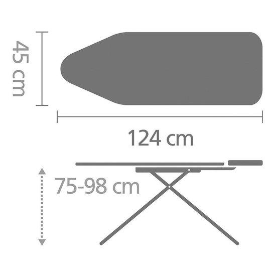 Brabantia Strijkplank C met Stoomunithouder - 124 x 45 cm - Ice Water