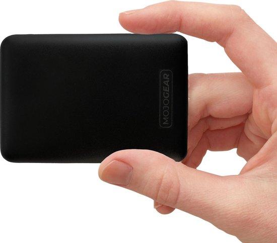Afbeelding van MOJOGEAR MINI Powerbank - de allerkleinste 10.000 mAh Externe Batterij Accu - 3 apparaten tegelijk opladen - Zwart