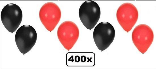400x Ballonnen rood/zwart - Ballon carnaval festival feest party verjaardag landen helium lucht thema casino