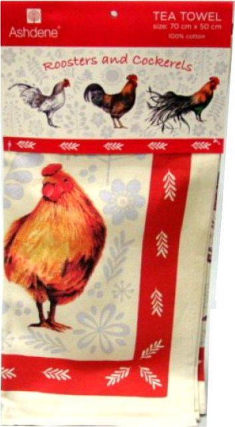 Ashdene theedoek haan kip thema dieren cadeaus