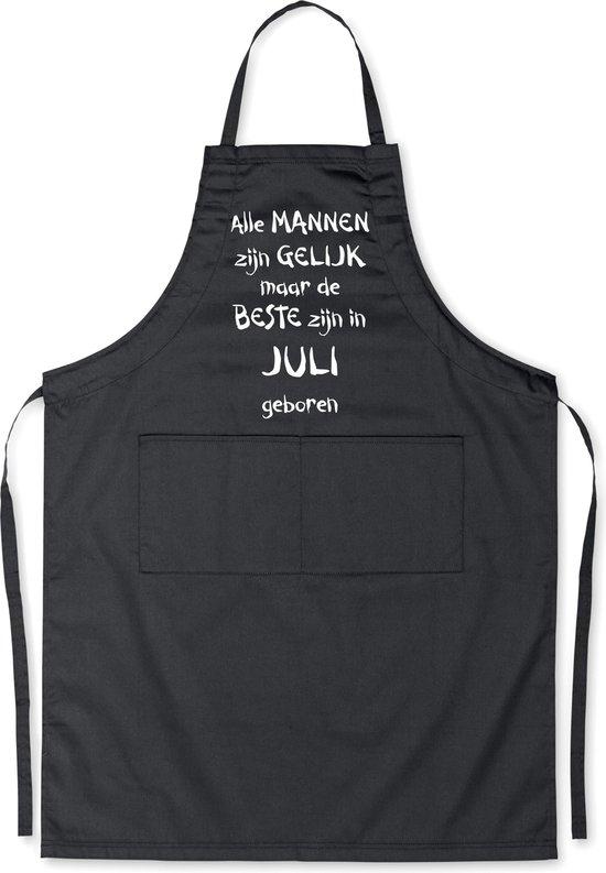 Mijncadeautje - Luxe schort - zwart - Alle mannen zijn gelijk - juli
