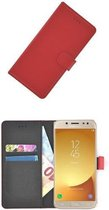 Rood Luxe Bookcase Wallet hoesje voor Samsung Galaxy J5 2017