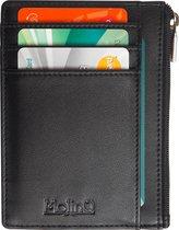 Compacte RFID Portemonnee met Rits en ID-Venster - Anti Skim Pasjeshouder - Zwart