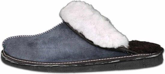 Schapenvacht pantoffels - Lamsvacht dames slippers - Grijs - Maat 43