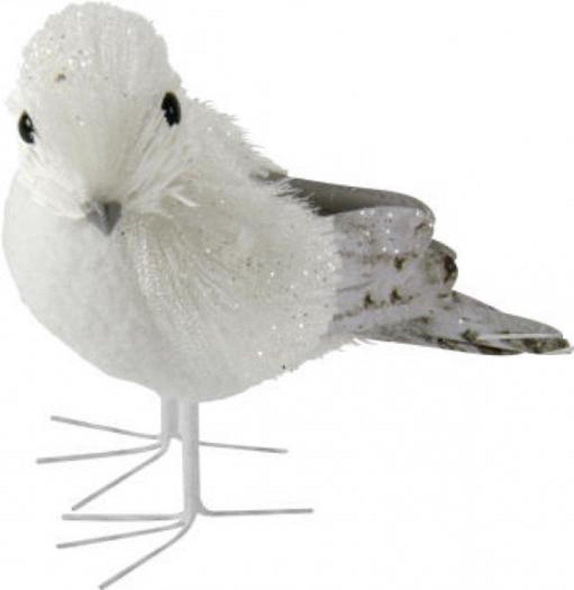Decoratie vogel met glitters 12 cm type 2
