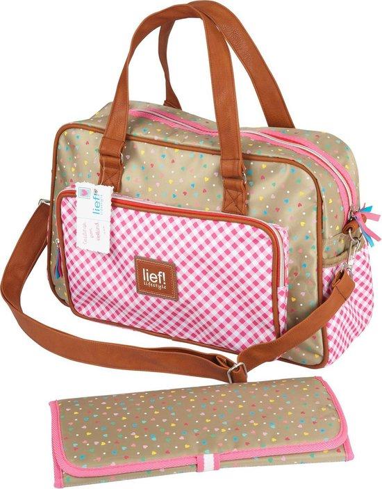 Product: Lief! Luiertas Verzorgingstas + Verschoningsmatje - Roze, van het merk Lief! Lifestyle