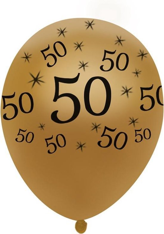 Wonderbaar bol.com | 10 ballonnen (goud) met zwarte opdruk 50 jaar verjaardag OV-19