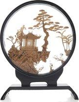 Kurk schilderij met vogels bruin - botanisch schilderij - 3D schilderij 20 cm