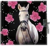 Afbeelding van Paard Flowers - Dagboek - 13,5 x 13 cm - Inclusief slotje