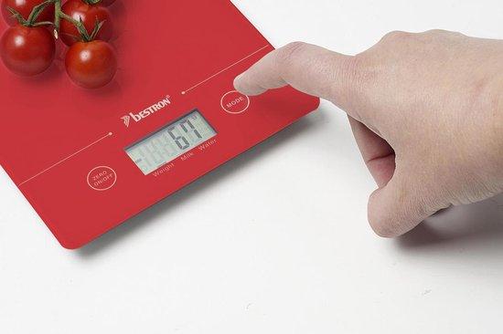 Bestron AKS700R - Digitale Keukenweegschaal - Rood - Bestron