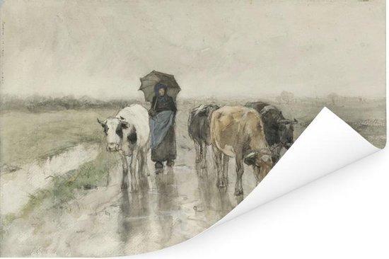 Een boerin met koeien op een landweg in de regen - Schilderij van Anton Mauve Poster 180x120 cm - Foto print op Poster (wanddecoratie woonkamer / slaapkamer) XXL / Groot formaat!